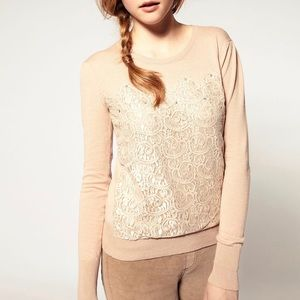 ASOS Jeweled Lace Sweater